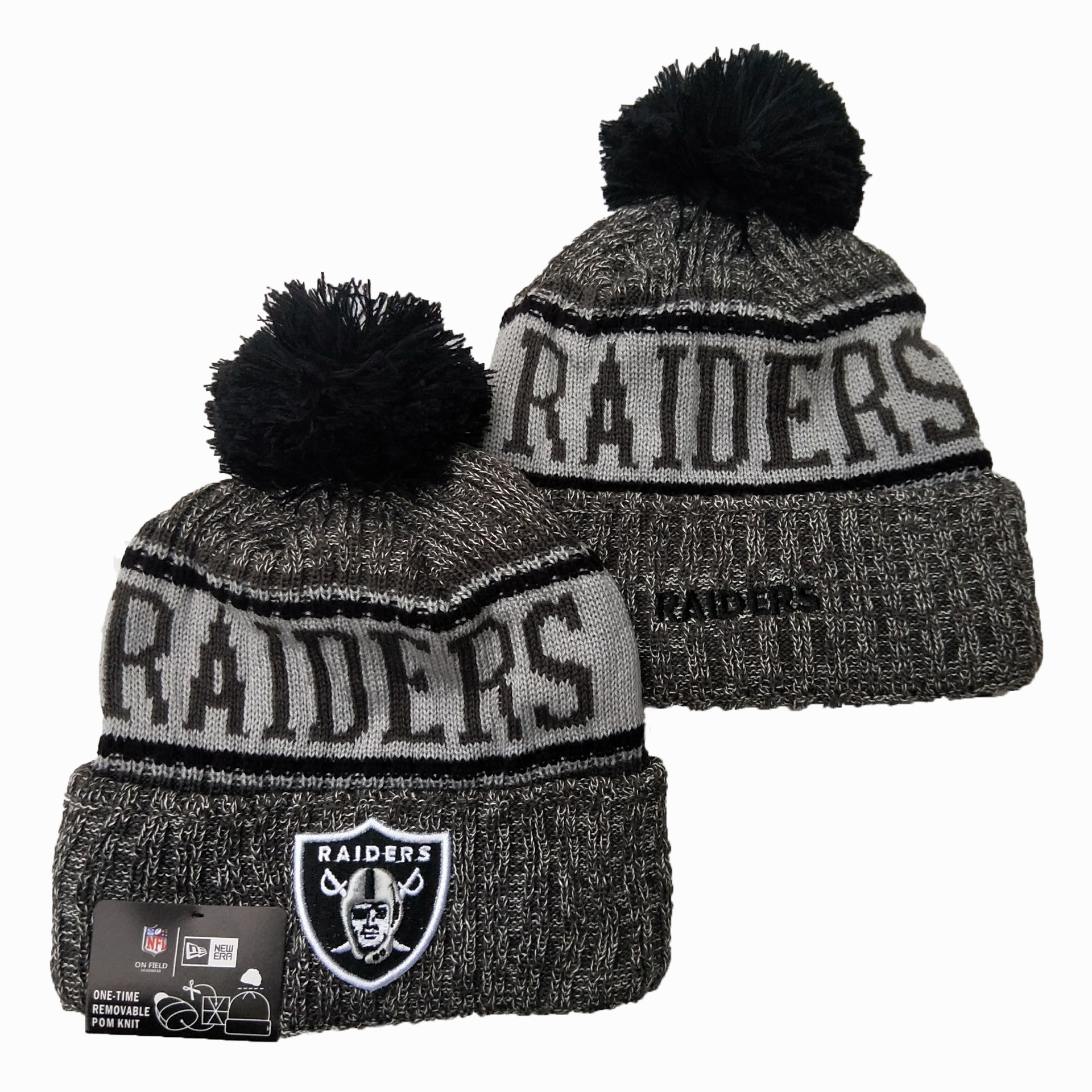 Raiders Team Logo Gray 100th Season Pom Knit Hat YD