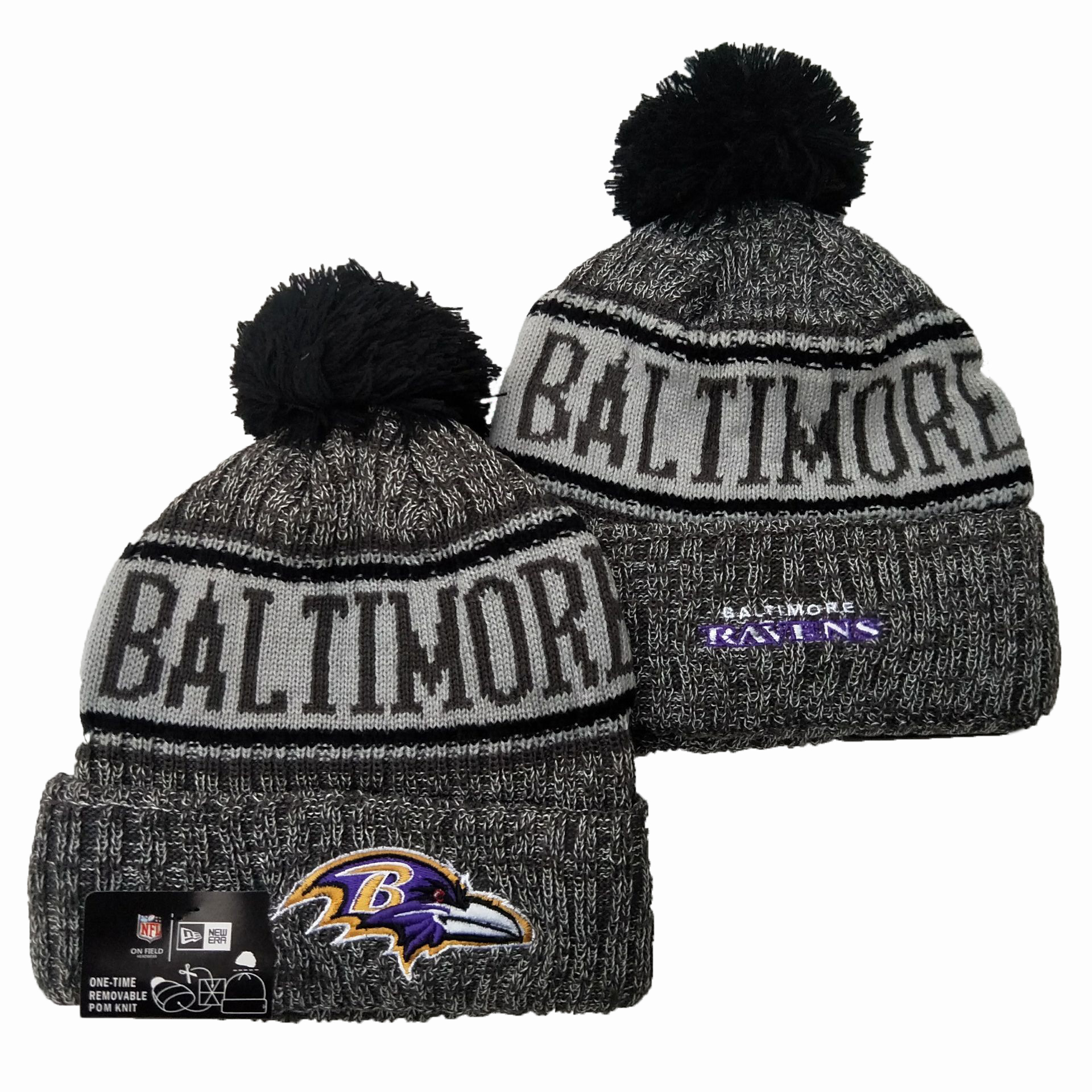 Ravens Team Logo Gray 100th Season Pom Knit Hat YD