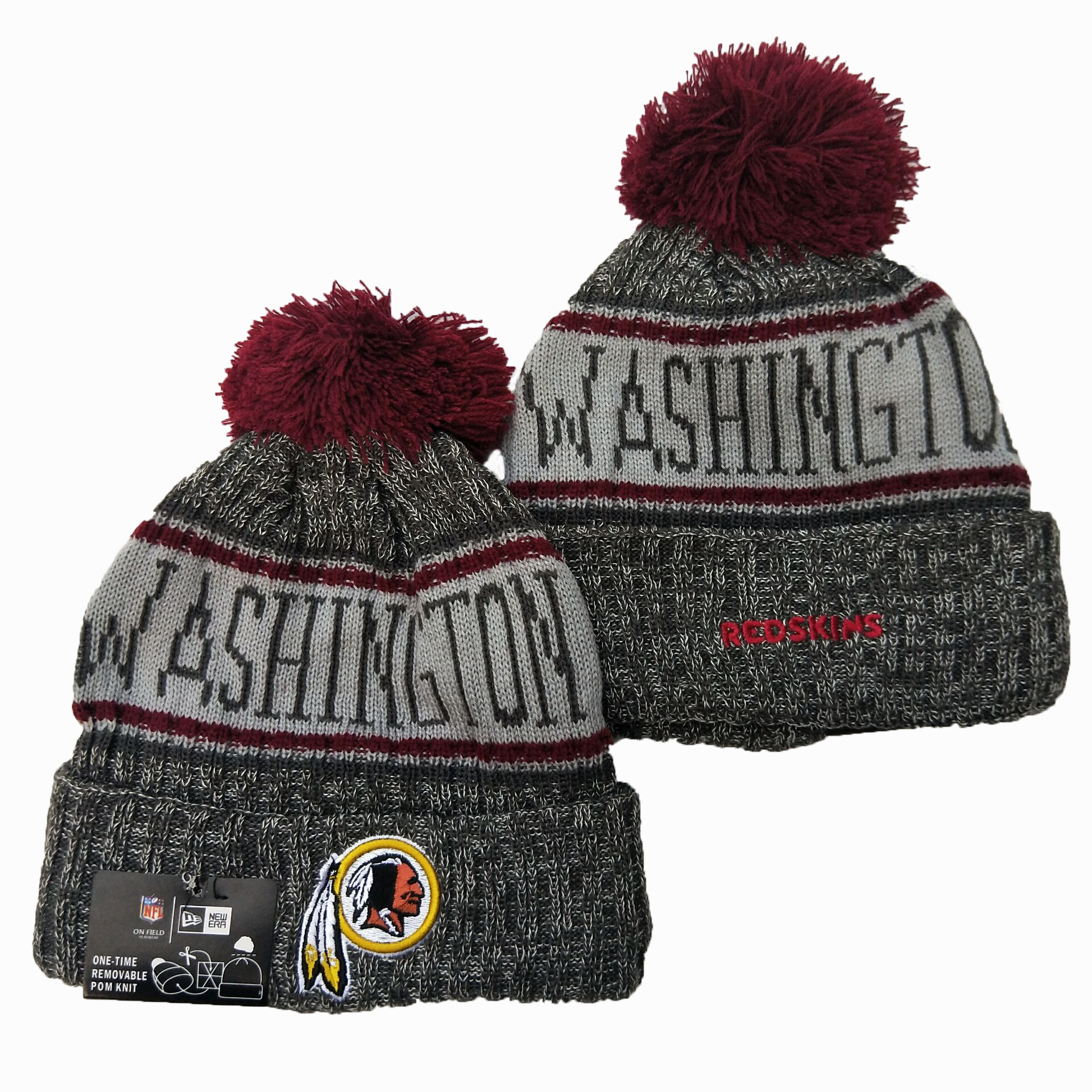 Redskins Team Logo Gray Pom Knit Hat YD