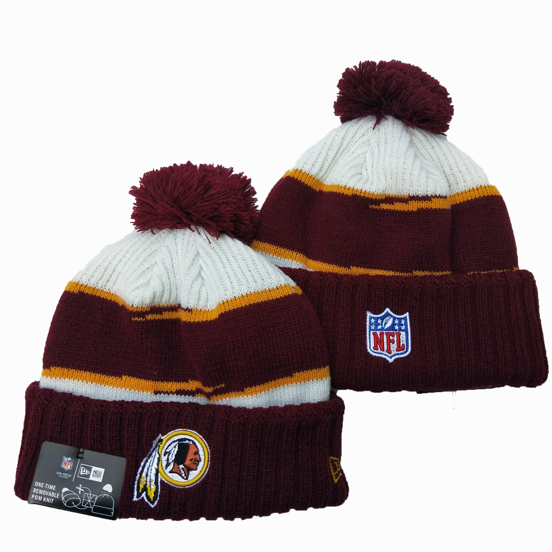 Redskins Team Logo Red Pom Knit Hat YD