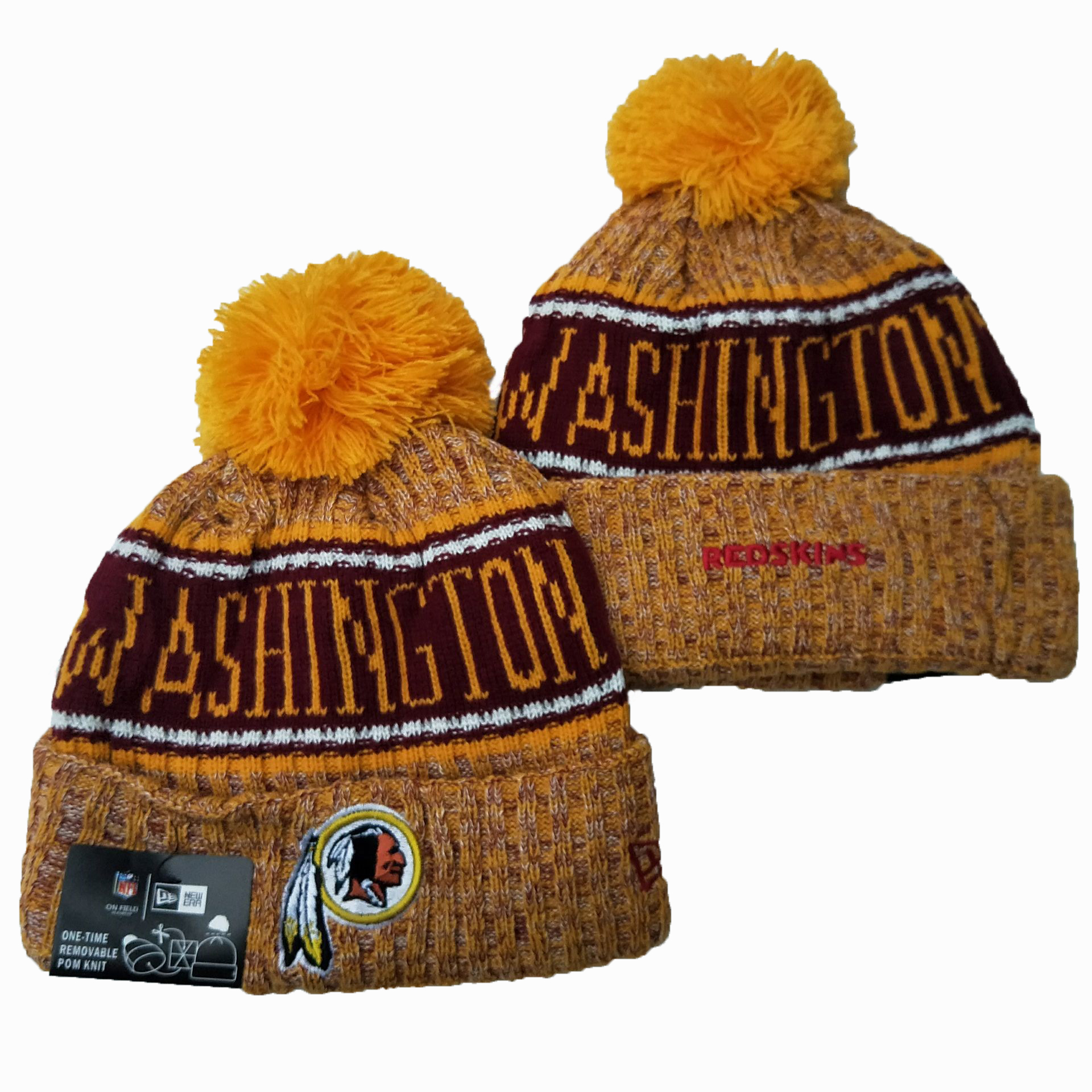 Redskins Team Logo Yellow Pom Knit Hat YD