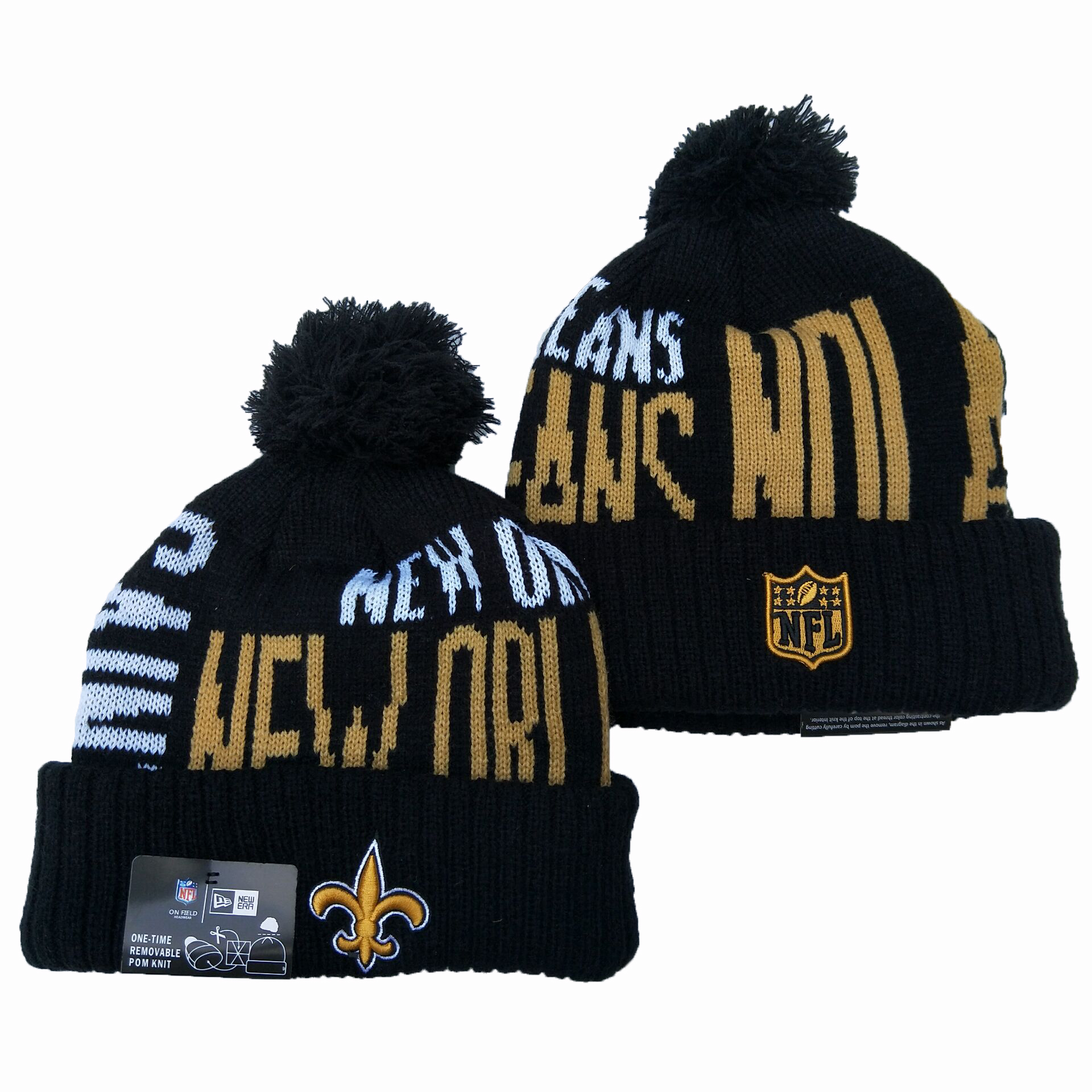 Saints Team Logo Navy Pom Knit Hat YD