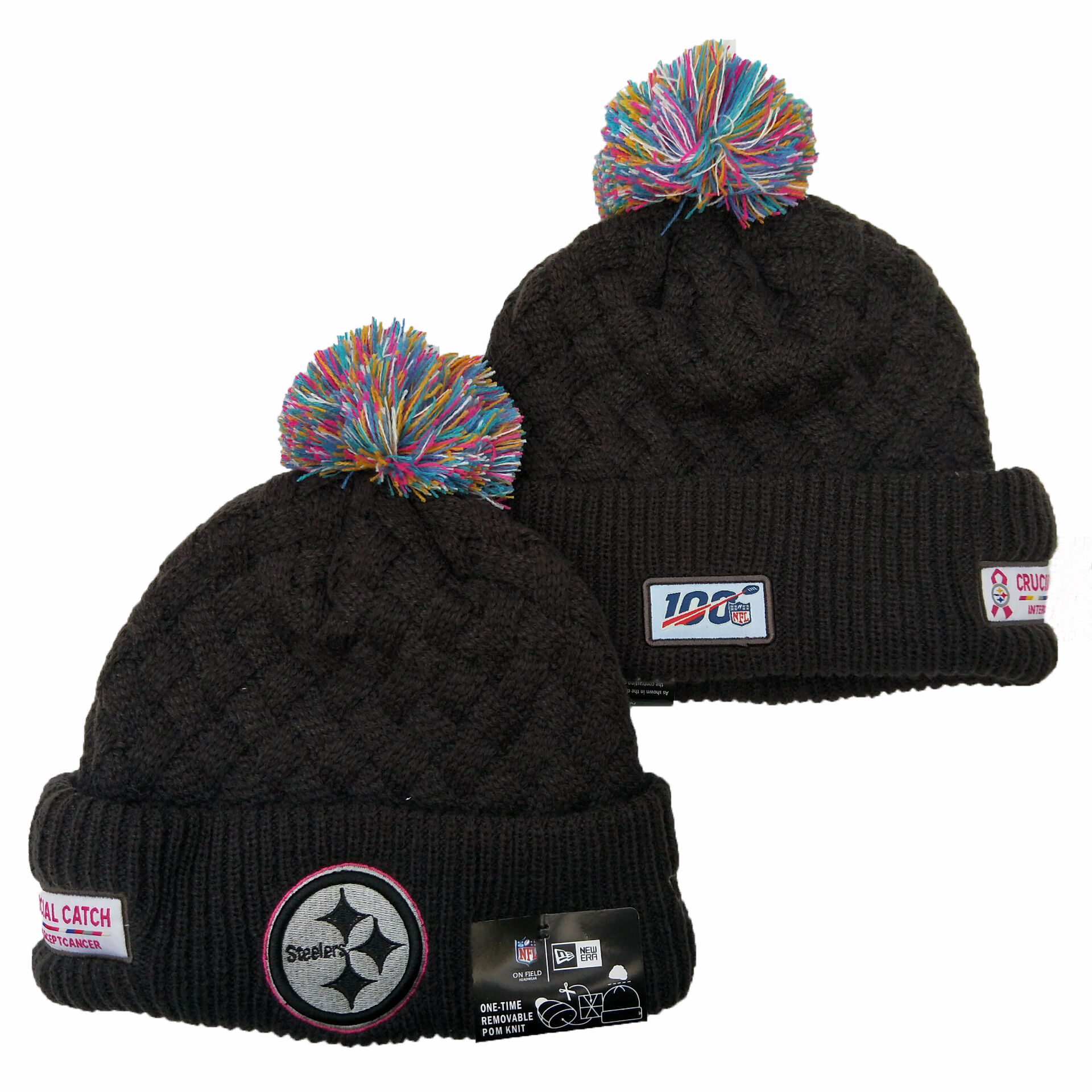 Steelers Team Logo Black 100th Season Pom Knit Hat YD