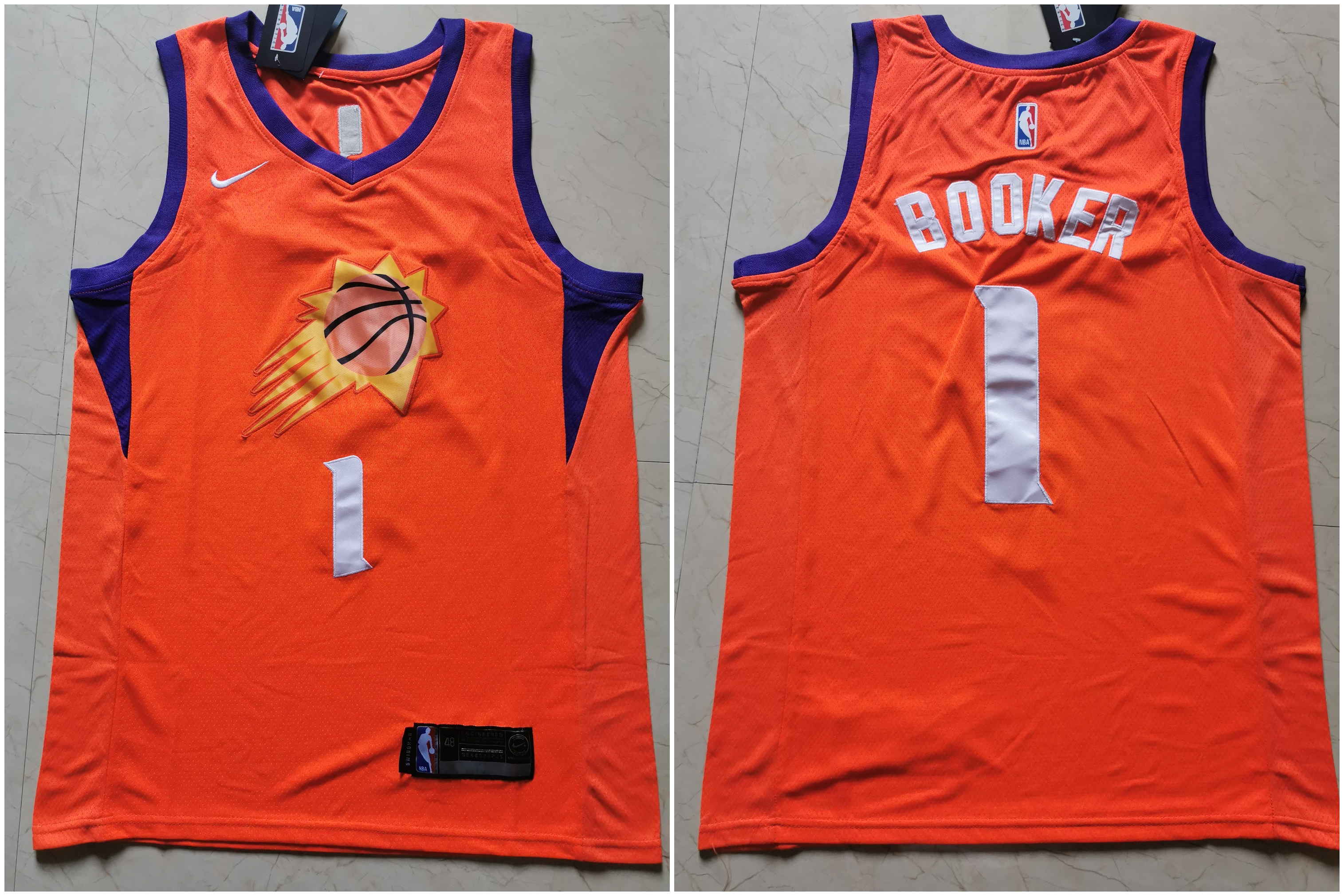 Suns 1 Devin Booker Orange Nike Swingman Jersey