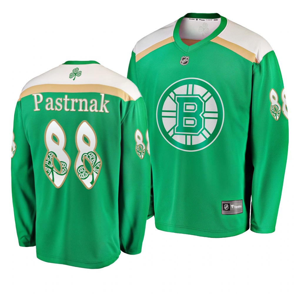 Bruins 88 David Pastrnak Green 2019 St. Patrick's Day Adidas Jersey.jpeg