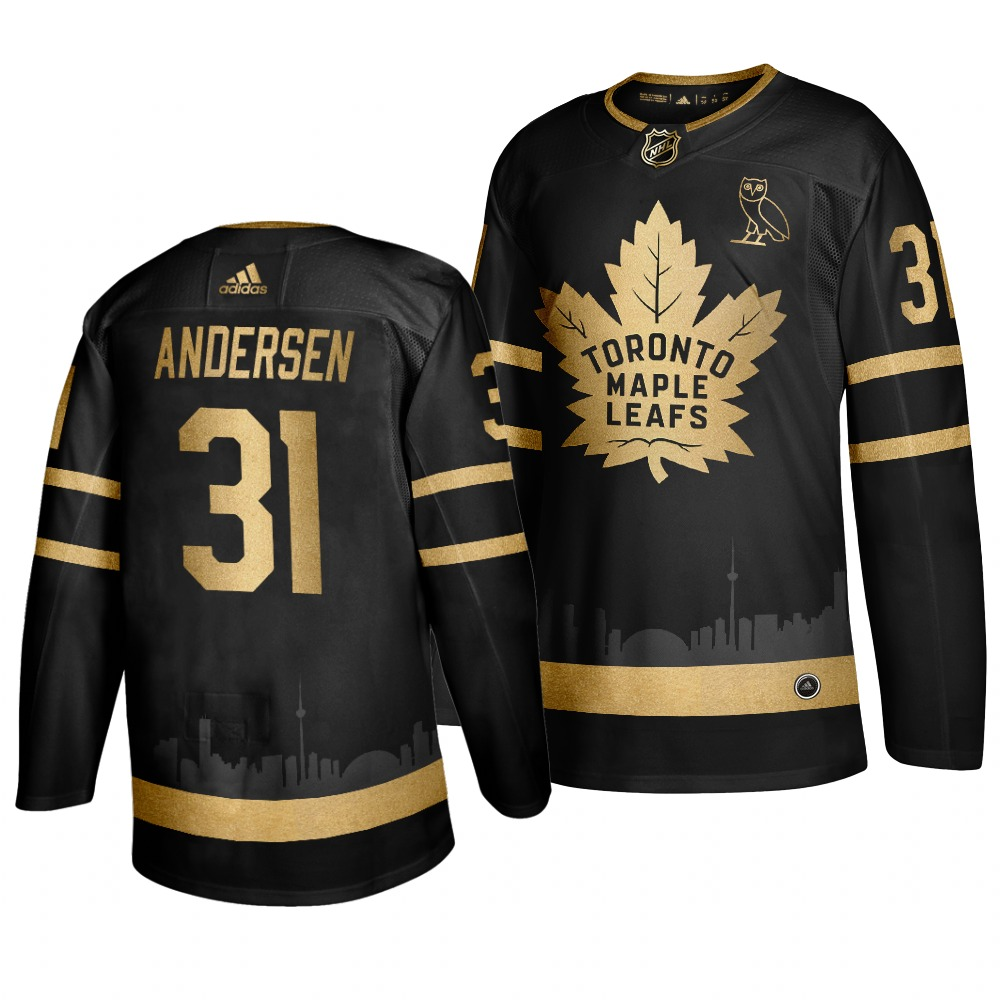 Maple Leafs 31 Frederik Andersen Black With Special Glittery Logo Adidas Jersey