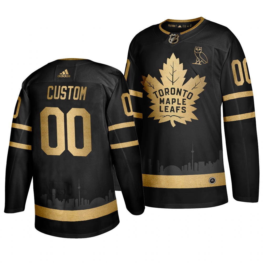 Maple Leafs Cusotmized Black With Special Glittery Logo Adidas Jersey