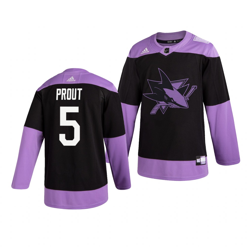 Sharks 5 Dalton Prout Black Purple Hockey Fights Cancer Adidas Jersey