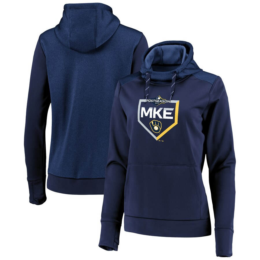 Milwaukee Brewers Majestic Women's 2019 Postseason Dugout Authentic Pullover Hoodie Navy