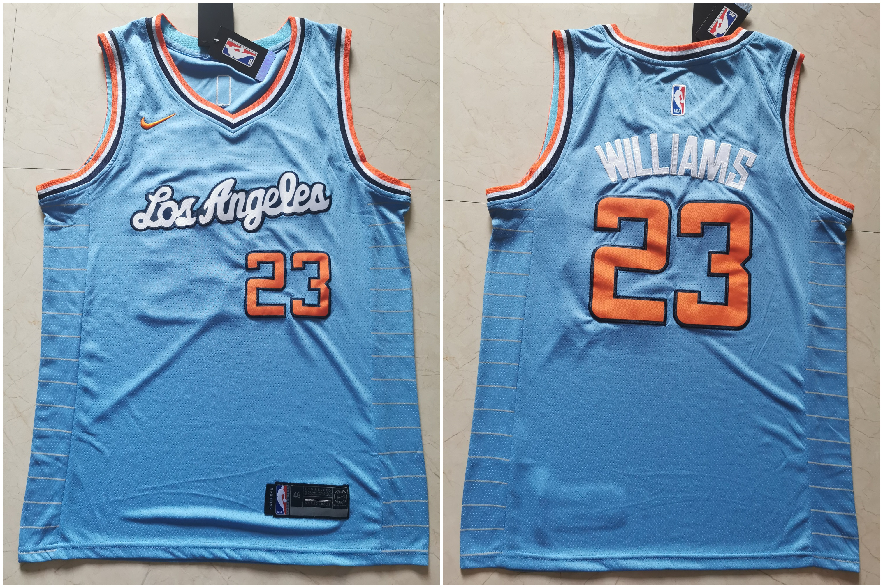Clippers 23 Lou Williams Light Blue Nike Swingman Jersey