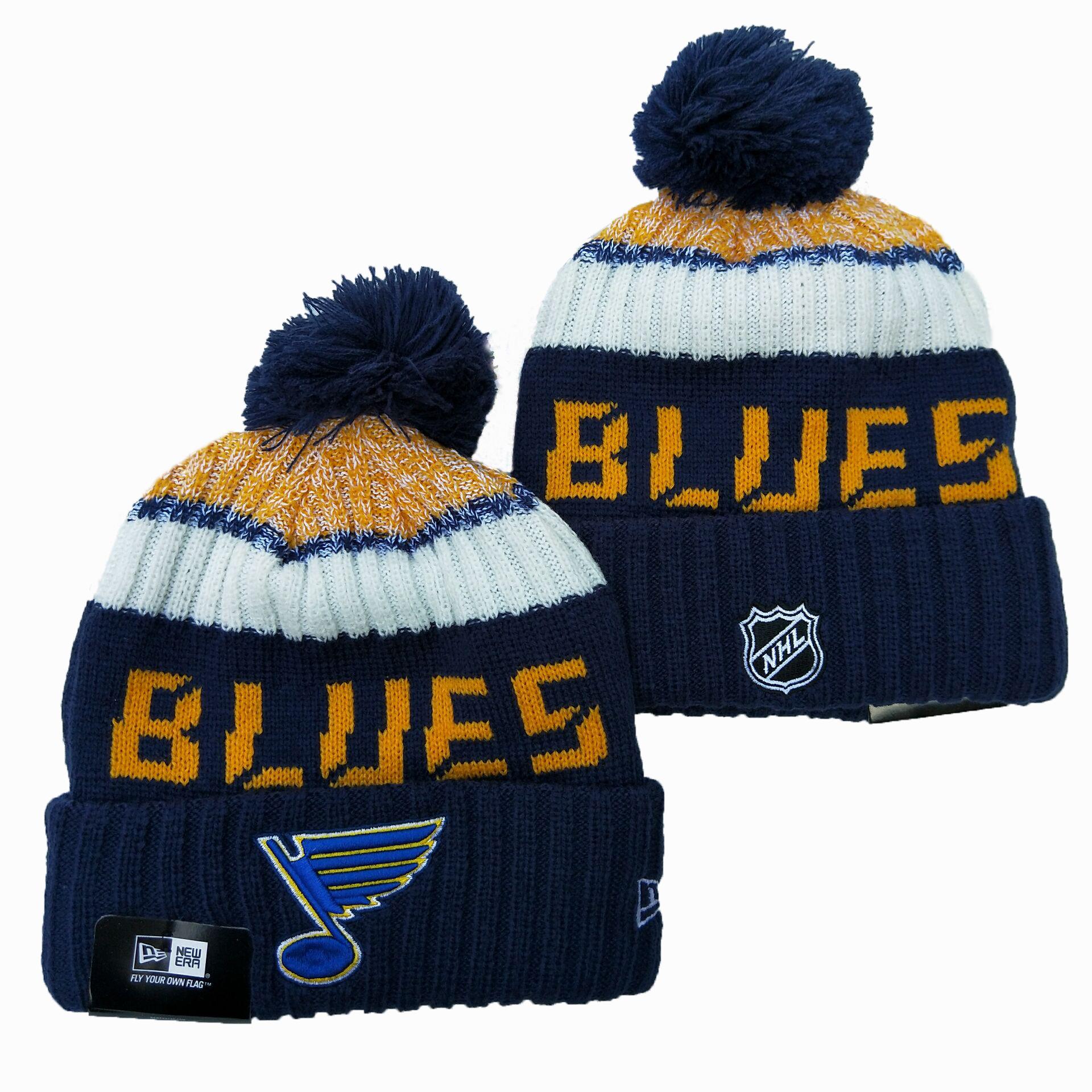 Blues Team Logo Navy Wordmark Cuffed Pom Knit Hat YD