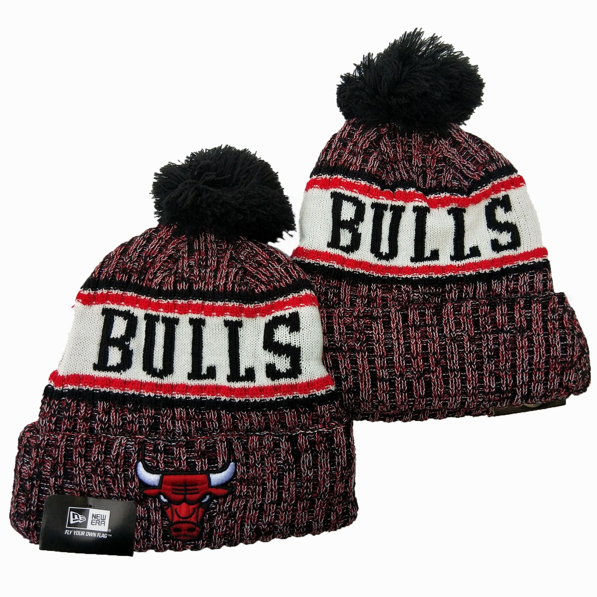 Bulls Team Logo Red White Wordmark Cuffed Pom Knit Hat YD