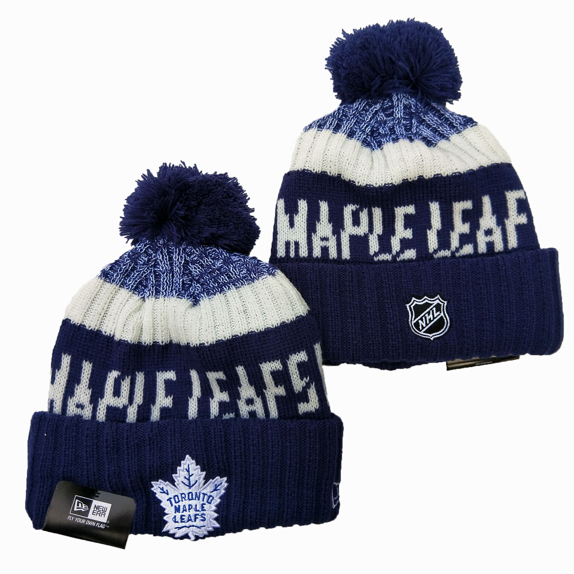 Maple Leafs Team Logo Navy Wordmark Cuffed Pom Knit Hat YD