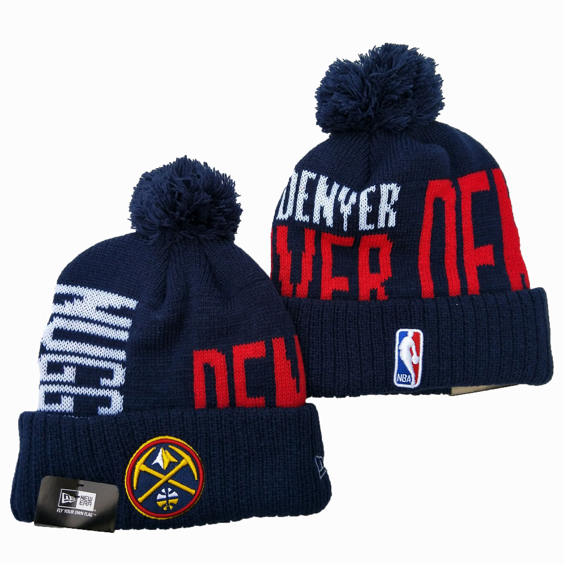 Nuggets Team Logo Navy Wordmark Cuffed Pom Knit Hat YD