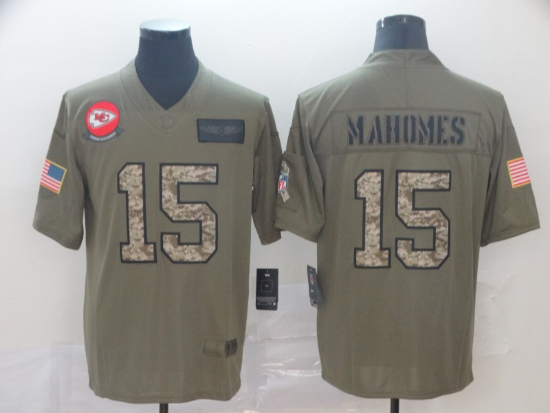 Nike Chiefs 15 Patrick Mahomes 2019 Olive Camo Salute To Service Limited Jersey