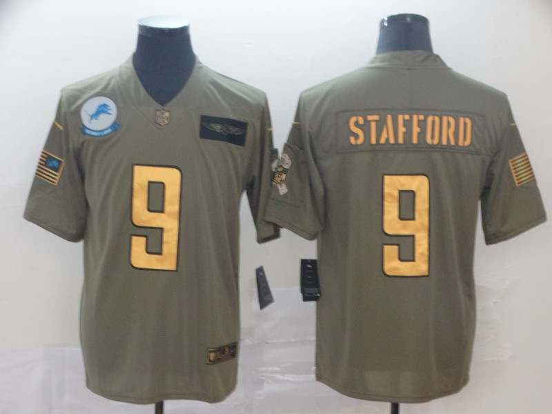 Nike Lions 9 Matthew Stafford 2019 Olive Gold Salute To Service Limited Jersey