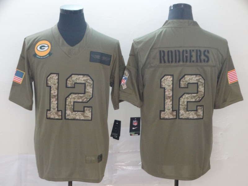 Nike Packers 12 Aaron Rodgers 2019 Olive Camo Salute To Service Limited Jersey