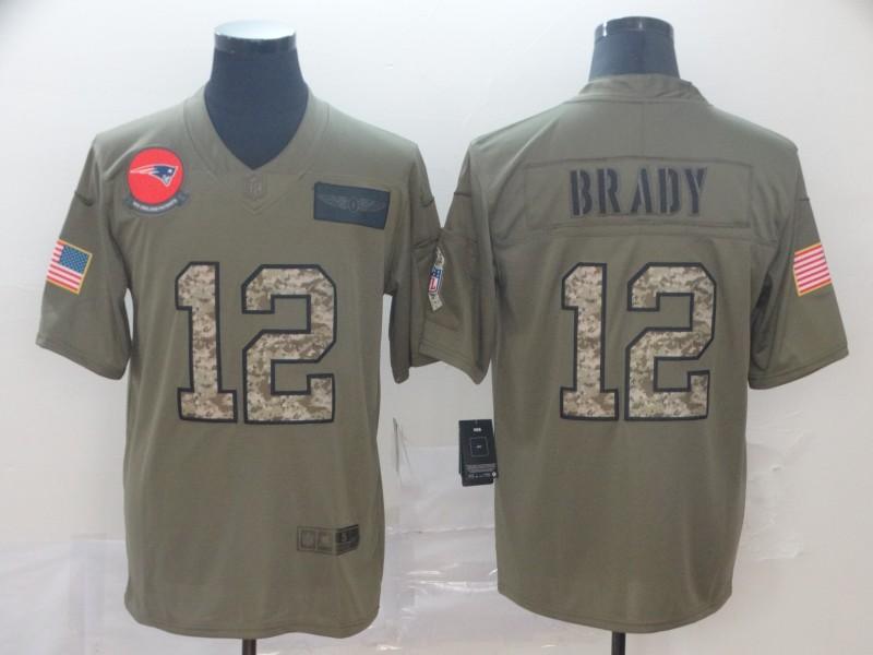 Nike Patriots 12 Tom Brady 2019 Olive Camo Salute To Service Limited Jersey