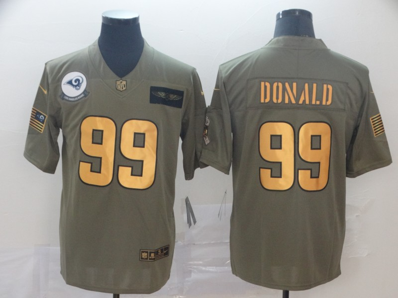 Nike Rams 99 Aaron Donald 2019 Olive Gold Salute To Service Limited Jersey