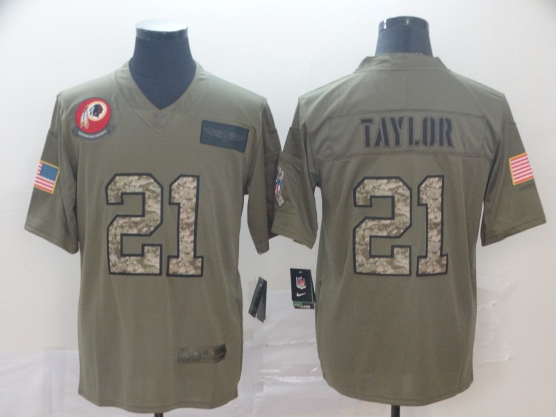 Nike Redskins 21 Sean Taylor 2019 Olive Camo Gold Salute To Service Limited Jersey