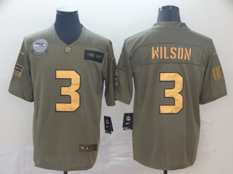 Nike Seahawks 3 Russell Wilson 2019 Olive Gold Salute To Service Limited Jersey