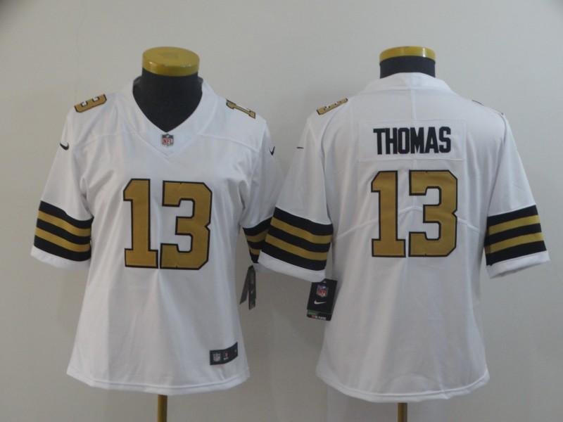 Nike Saints 13 Michael Thomas White Women Color Rush Limited Jersey