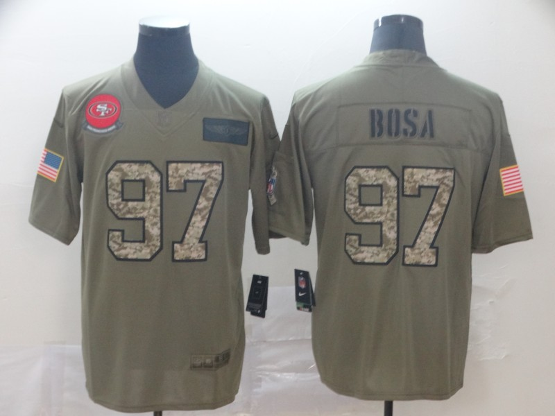 Nike 49ers 97 Nick Bosa 2019 Olive Camo Salute To Service Limited Jersey