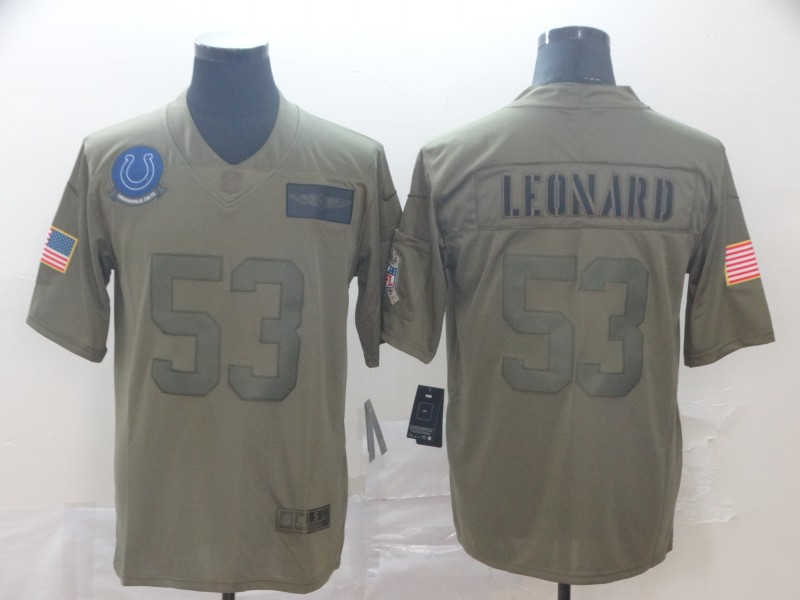Nike Colts 53 Darius Leonard 2019 Olive Salute To Service Limited Jersey