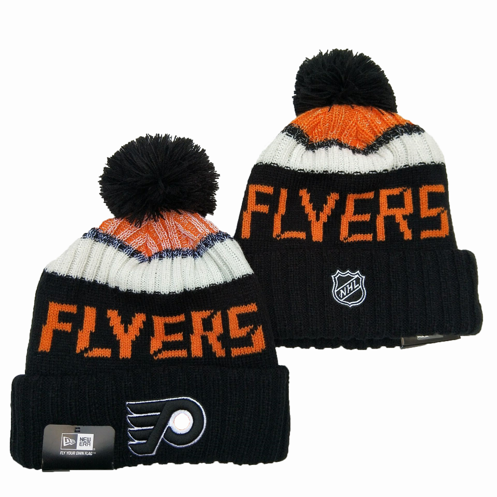 Flyers Team Logo Black Pom Knit Hat YD