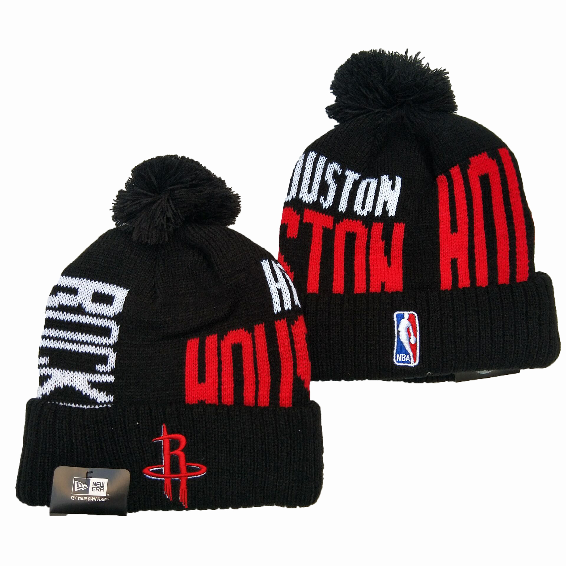 Rockets Team Logo Black Pom Knit Hat YD