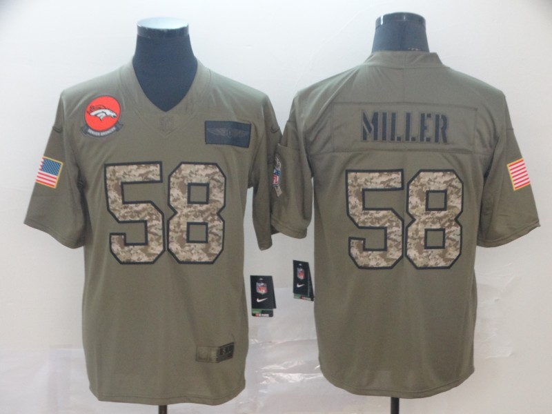 Nike Broncos 58 Von Miller 2019 Olive Camo Salute To Service Limited Jersey
