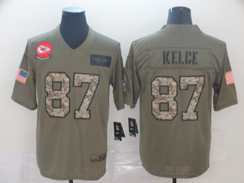 Nike Chiefs 87 Travis Kelce 2019 Olive Camo Salute To Service Limited Jersey