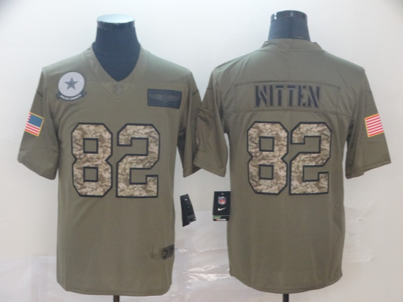 Nike Cowboys 82 Jason Witten 2019 Olive Camo Salute To Service Limited Jersey