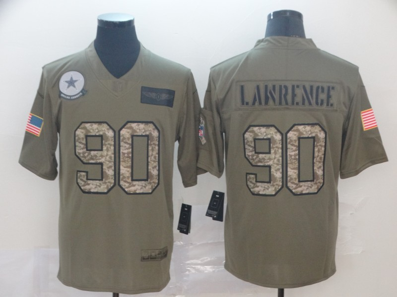 Nike Cowboys 90 Demarcus Lawrence 2019 Olive Camo Salute To Service Limited Jersey