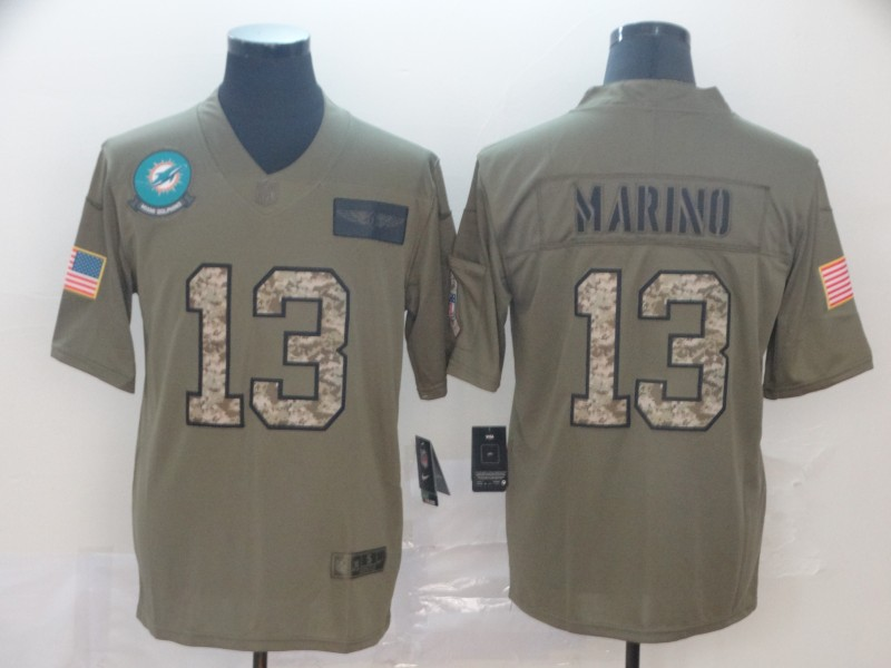 Nike Dolphins 13 Dan Marino 2019 Olive Camo Salute To Service Limited Jersey