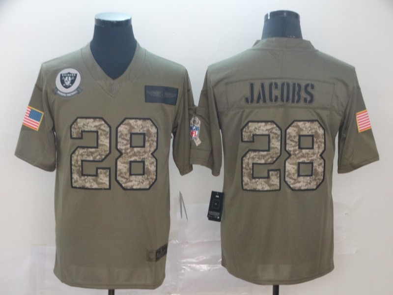 Nike Raiders 28 Josh Jacobs 2019 Olive Camo Salute To Service Limited Jersey