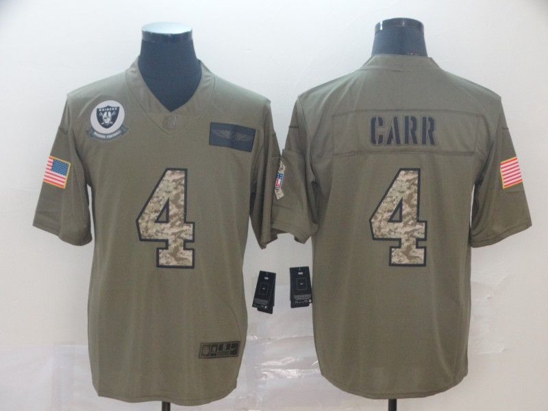 Nike Raiders 4 Derek Carr 2019 Olive Camo Salute To Service Limited Jersey
