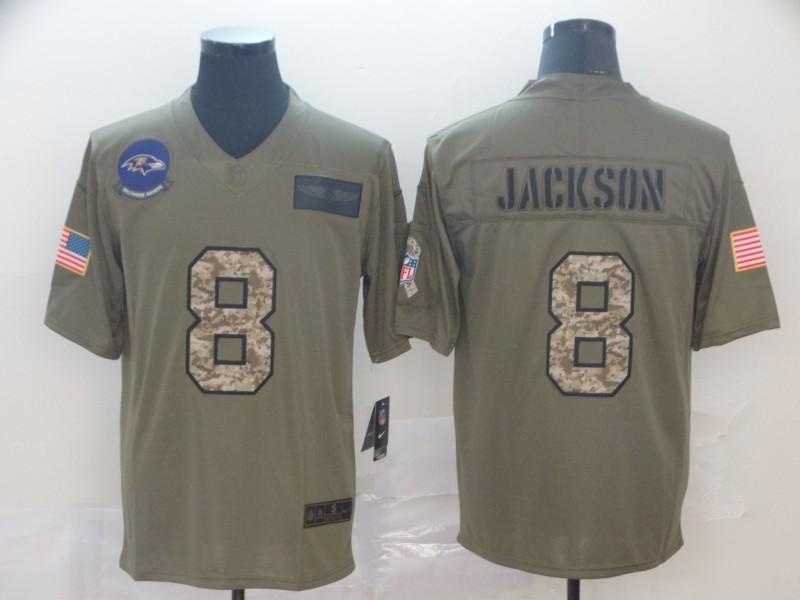 Nike Ravens 8 Lamar Jackson 2019 Olive Camo Salute To Service Limited Jersey