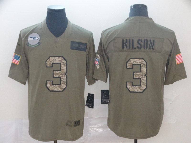 Nike Seahawks 3 Russell Wilson 2019 Olive Camo Salute To Service Limited Jersey