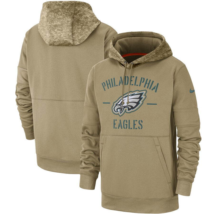 Philadelphia Eagles 2019 Salute To Service Sideline Therma Pullover Hoodie