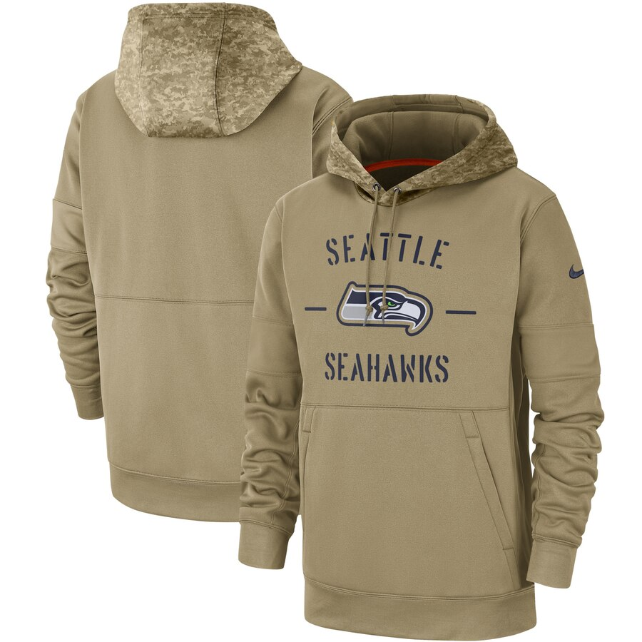 Seattle Seahawks 2019 Salute To Service Sideline Therma Pullover Hoodie