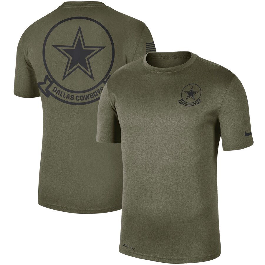 Men's Dallas Cowboys Nike Olive 2019 Salute to Service Sideline Seal Legend Performance T-Shirt