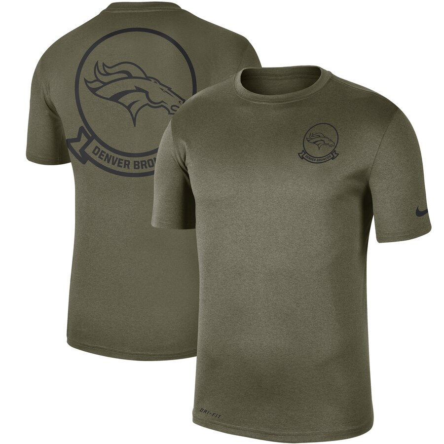 Men's Denver Broncos Nike Olive 2019 Salute to Service Sideline Seal Legend Performance T-Shirt