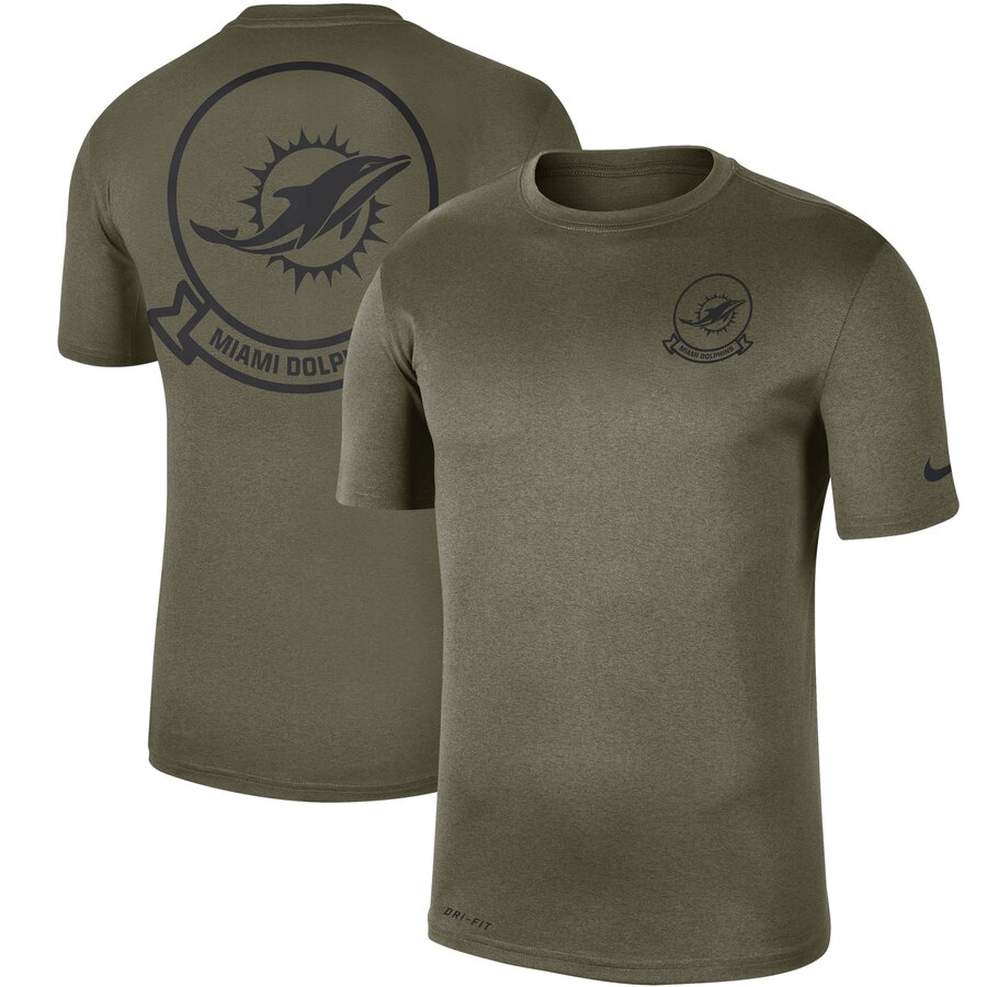 Men's Miami Dolphins Nike Olive 2019 Salute to Service Sideline Seal Legend Performance T-Shirt
