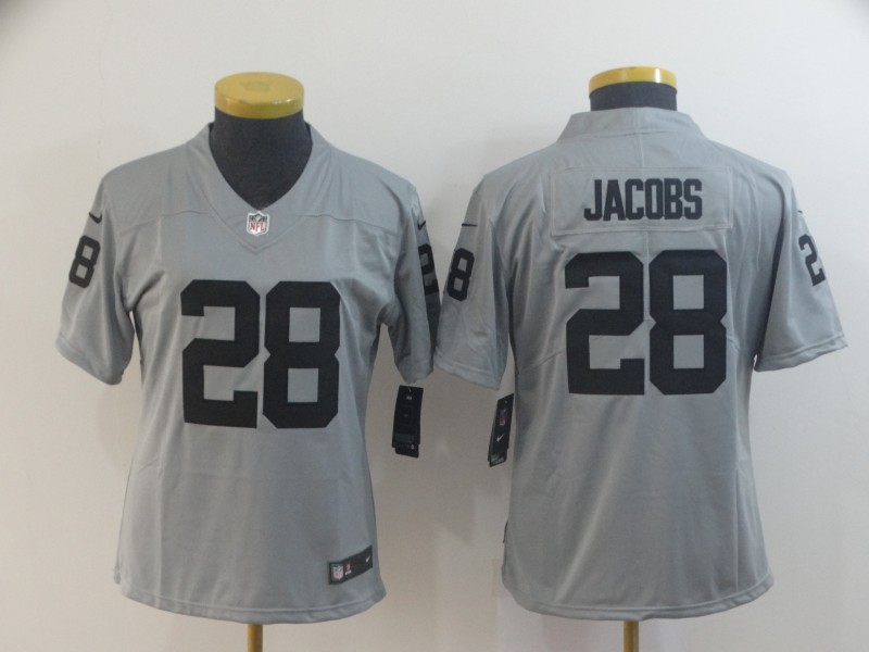 Nike Raiders 28 Josh Jacobs Silver Women Inverted Legend Limited Jersey