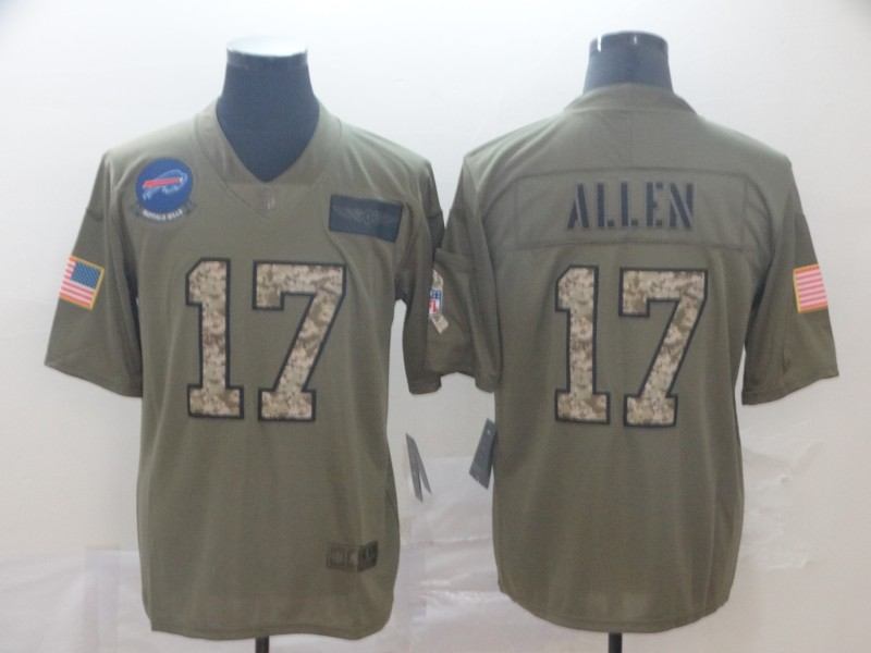 Nike Bills 17 Josh Allen 2019 Olive Camo Salute To Service Limited Jersey