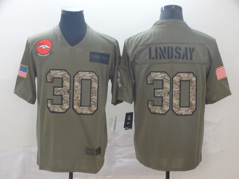 Nike Broncos 30 Phillip Lindsay 2019 Olive Camo Salute To Service Limited Jersey