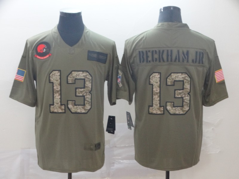 Nike Browns 13 Odell Beckham Jr. 2019 Olive Camo Salute To Service Limited Jersey