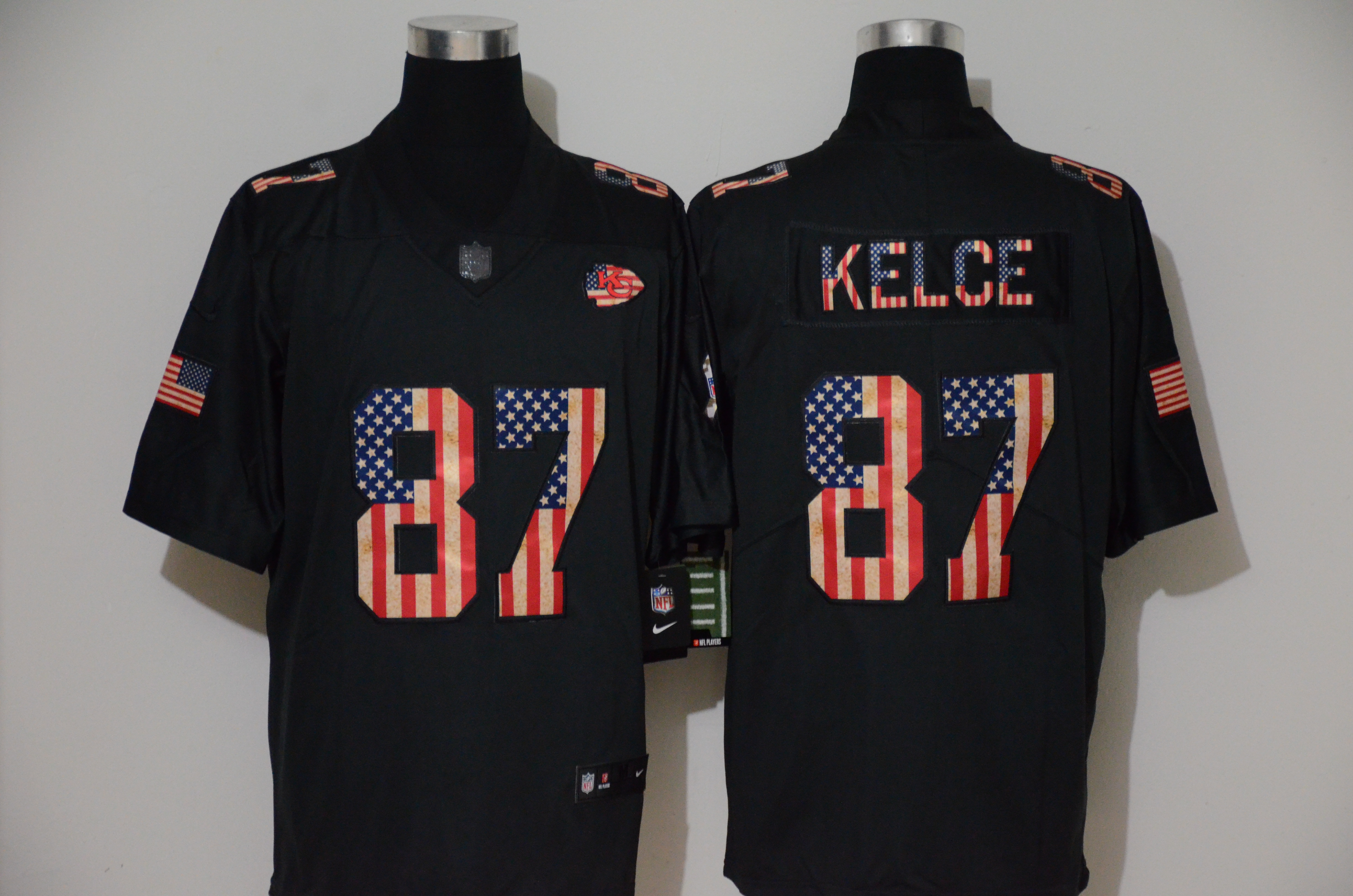Nike Chiefs 87 Travis Kelce 2019 Black Salute To Service USA Flag Fashion Limited Jersey