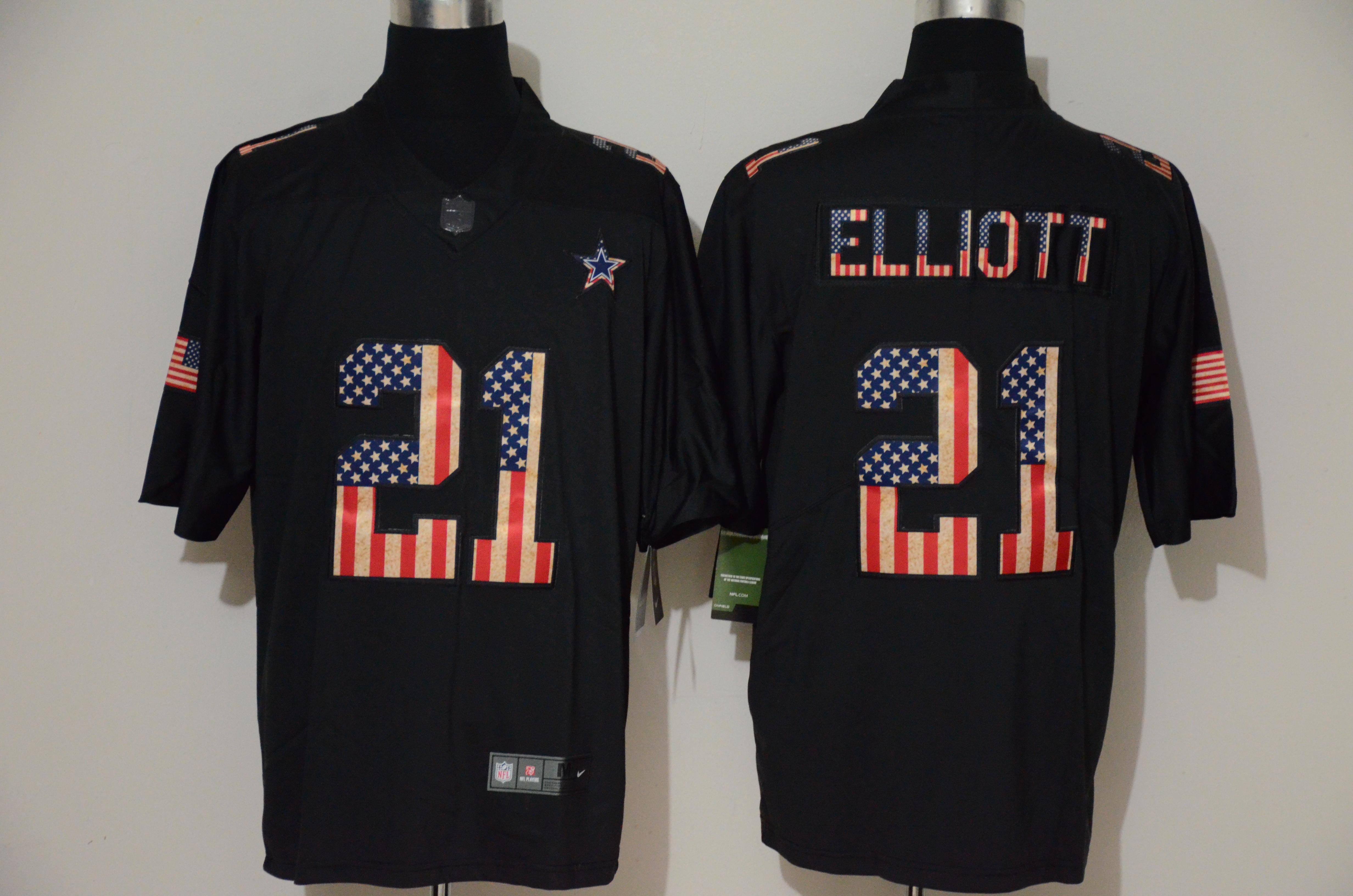 Nike Cowboys 21 Ezekiel Elliott 2019 Black Salute To Service USA Flag Fashion Limited Jersey